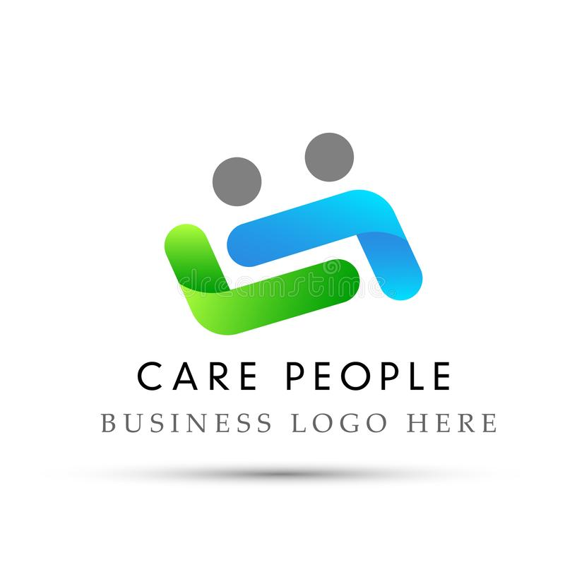 Couple care logo love care protect safety helping people logo icon on white Background. In ai10 illustrations royalty free illustration