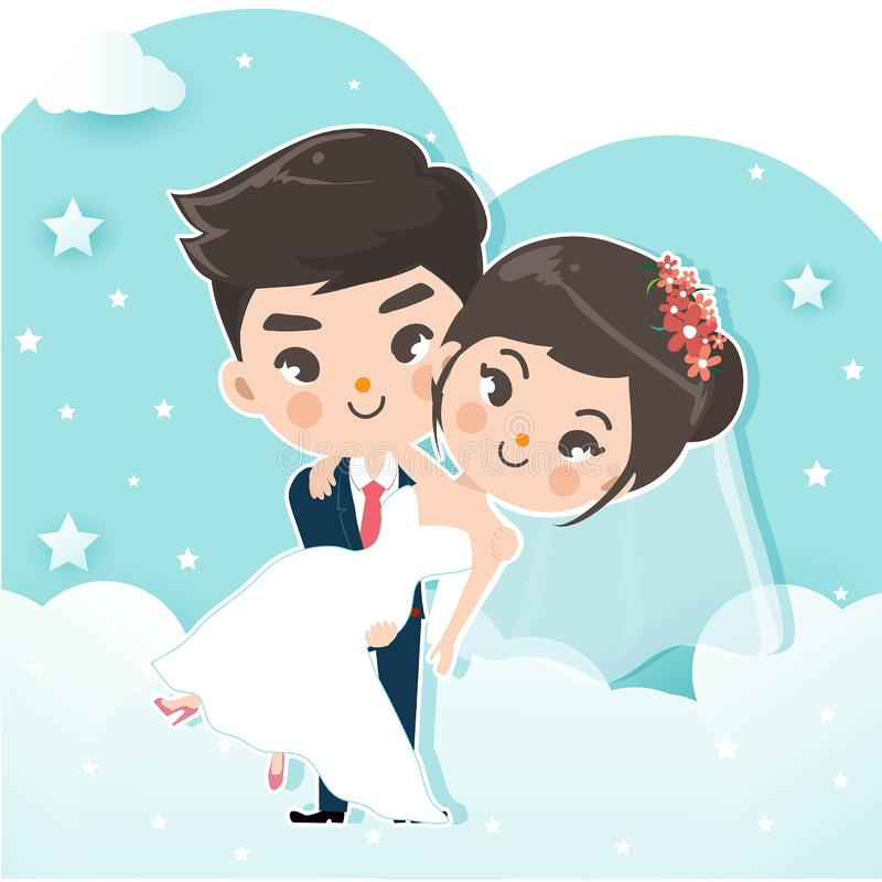 Couple carry on the sky cloud. royalty free illustration