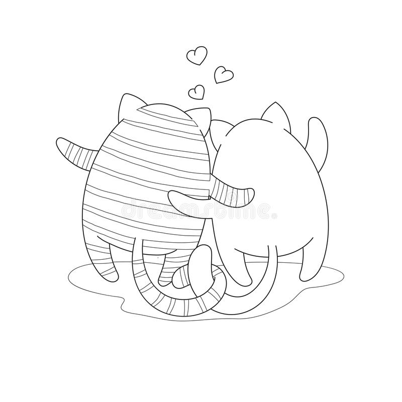 Couple of cartoon hugging cats. Black and white vector illustration stock illustration