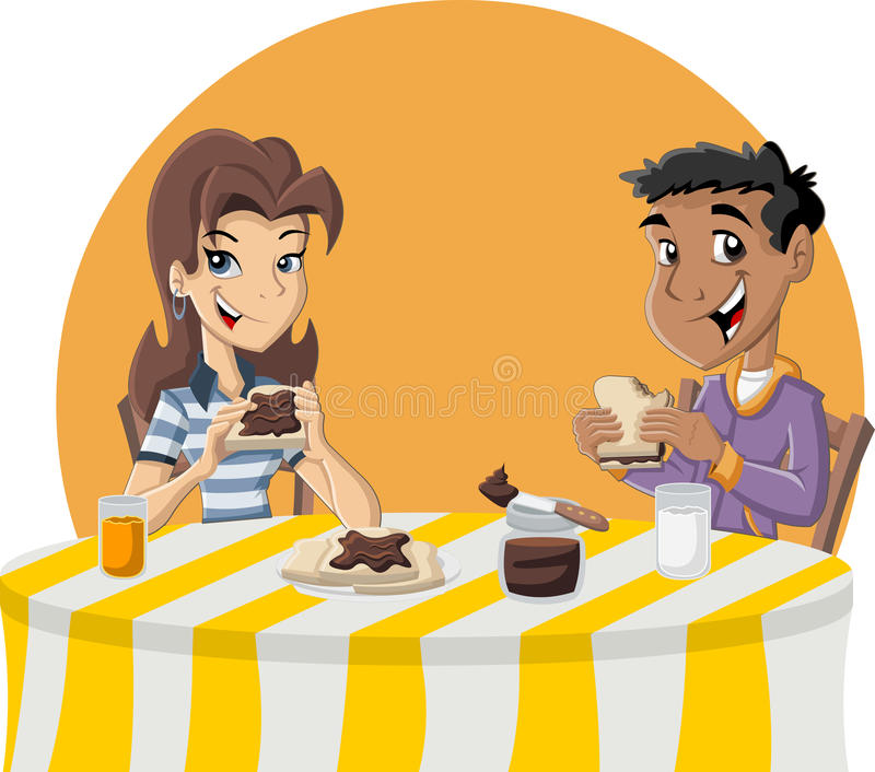 Couple of cartoon teenagers eating toast with chocolate. Nut paste for breakfast royalty free illustration