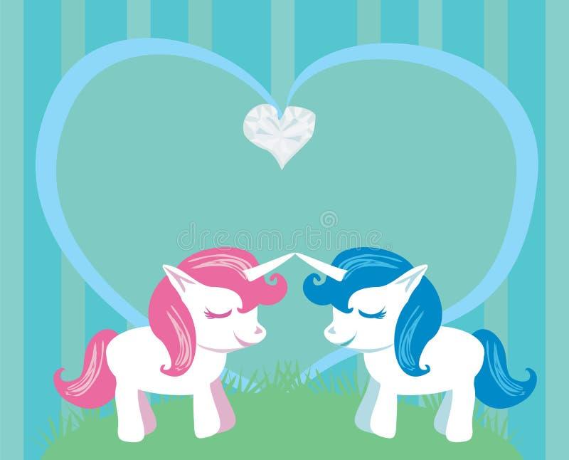 Couple of cartoon unicorns in love royalty free illustration