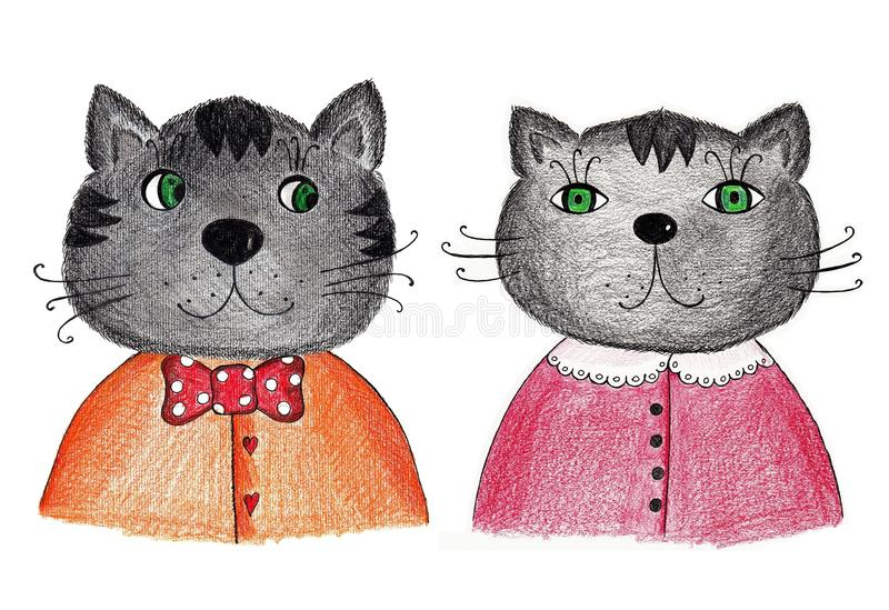 Download Couple of cats stock illustration. Image of greeting - 27825660