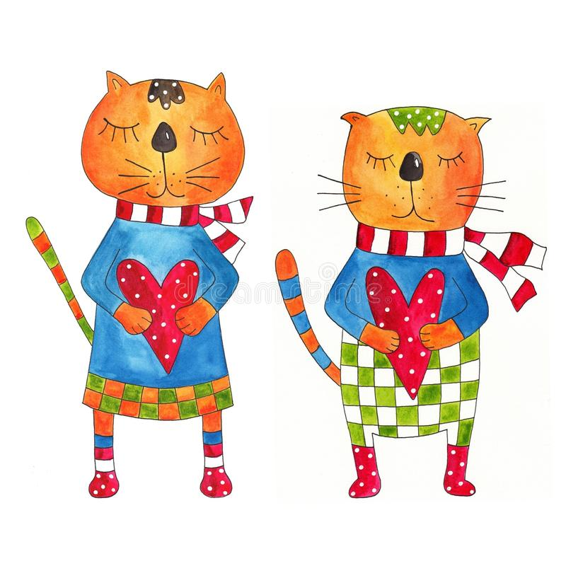 Download Couple Of Cats. Greeting Card Stock Illustration - Image: 25430179