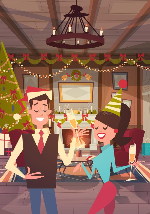 Couple Celebrate Merry Christmas And Happy New Year At Home Man And Woman Wear Santa Hats Drink Champagne Holiday Eve. Party Concept Flat Vector Illustration stock illustration