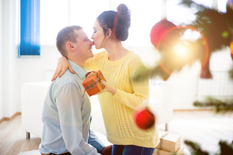Couple celebrating christmas stock image