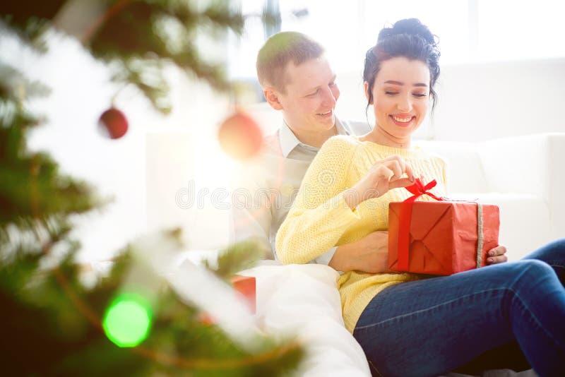 Couple celebrating christmas stock photo