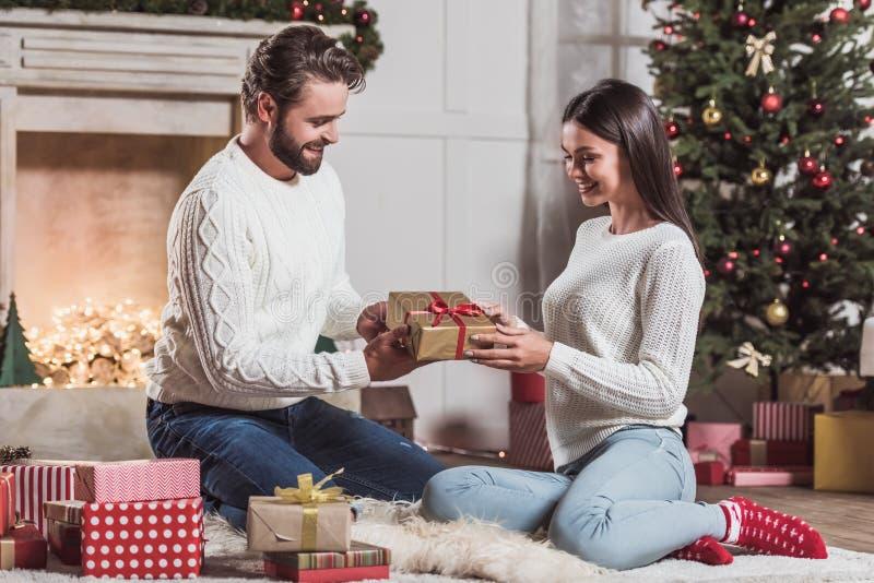 Couple celebrating New Year stock image
