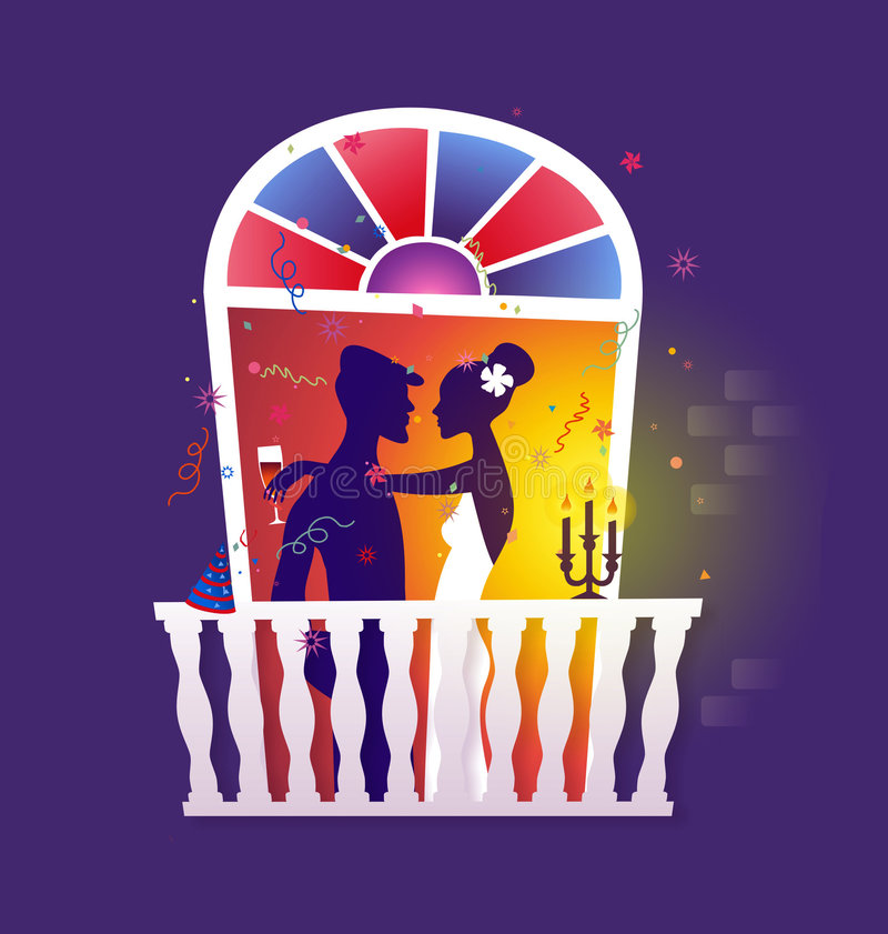 Couple celebrating - romantic dinner stock illustration