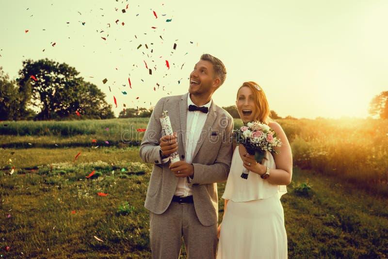 Celebrating wedding day stock photo