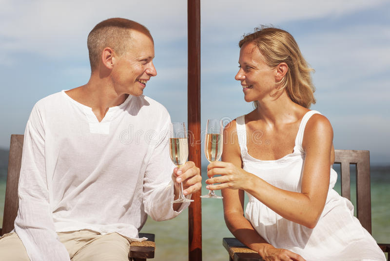 Couple Celebration Beach Summer Toast Champagne Concept royalty free stock photos