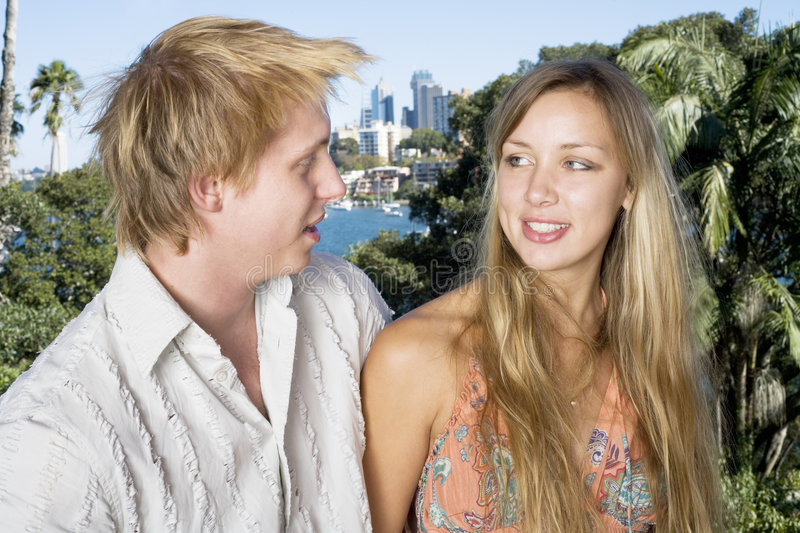 Download Couple Chatting On The Balcony 2 Stock Image - Image: 745723