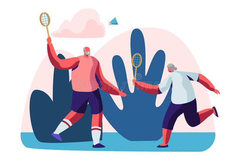 Couple of Cheerful Male Pensioners in Sports Wear Playing Badminton Outdoors. Senior People Healthy Lifestyle and Sport Life royalty free illustration