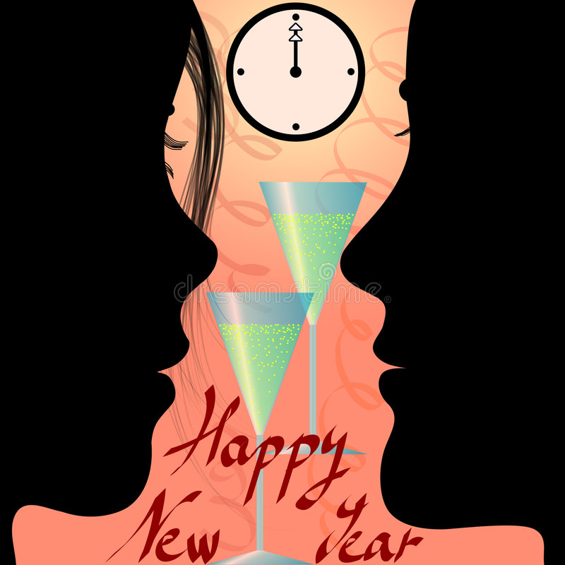 Free Couple Cheering New Year S Eve And Message Stock Images - 3866854