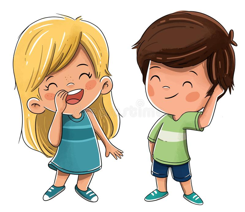 Couple of children friends or brothers royalty free illustration