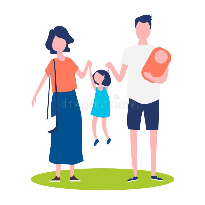 Couple with children. stock illustration