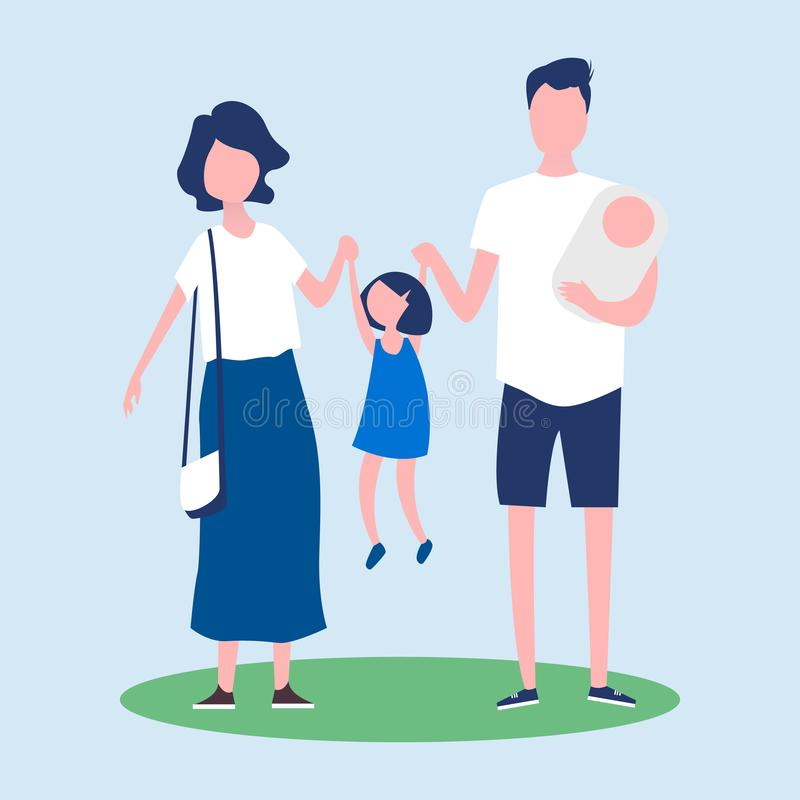 Couple with children on a summer walk. stock illustration
