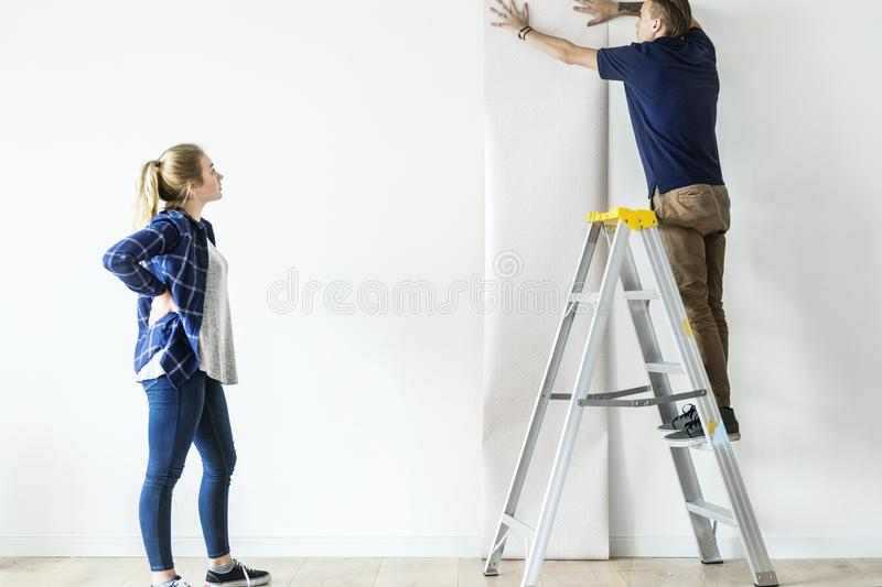 Download Couple Choosing House Wallpaper Together Stock Photo - Image of interior, american: 110811638