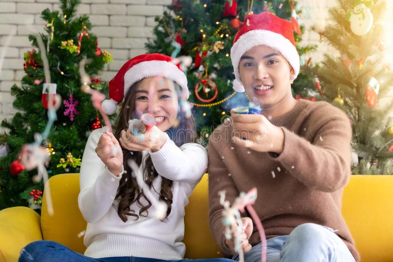 Couple christmas celebration Firecrackers royalty free stock images