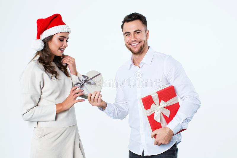 Couple with Christmas gifts. stock images