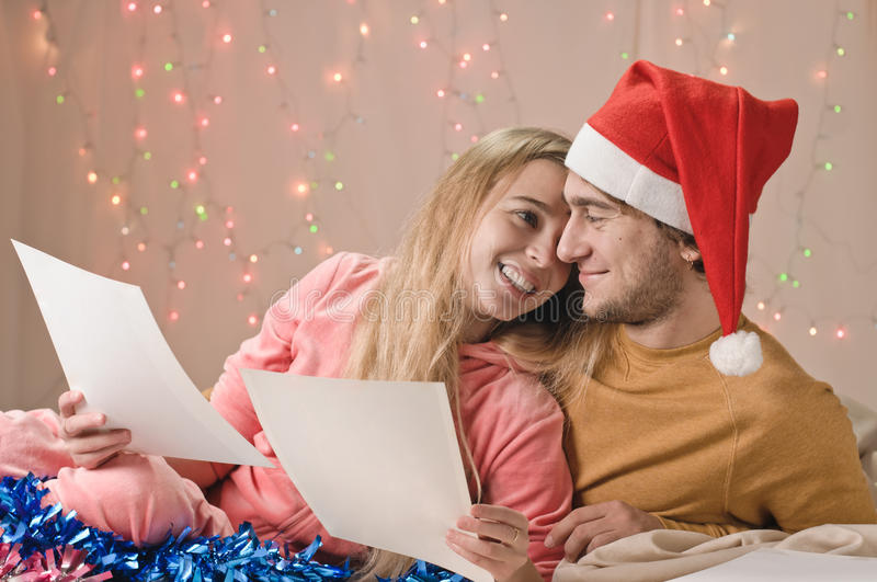 Couple christmas memories royalty free stock photos