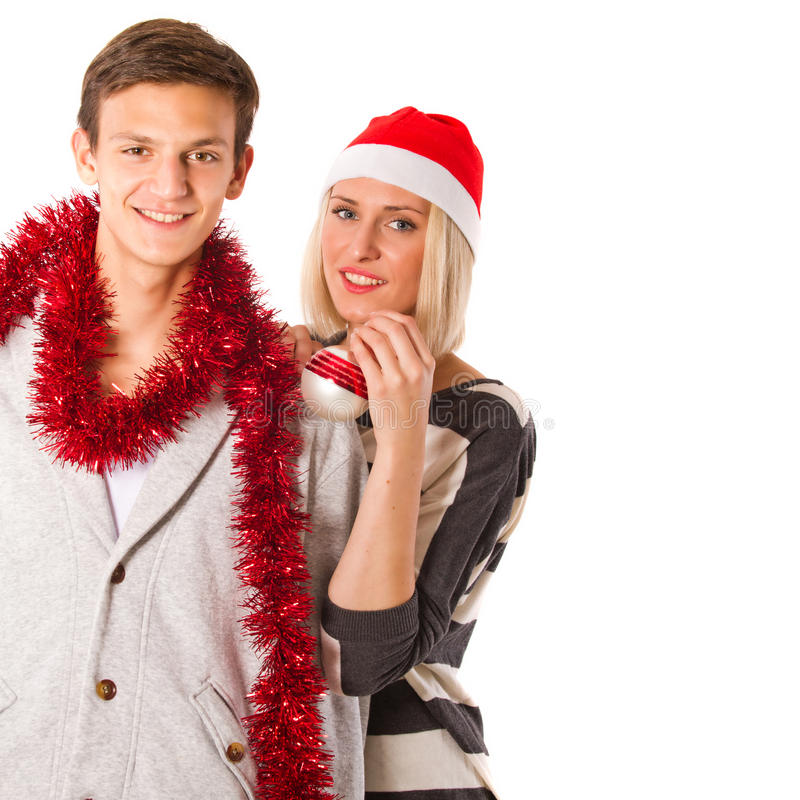 Couple in christmas outfit royalty free stock photo