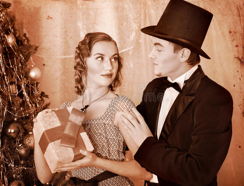 Download Couple On Christmas Party.  Black And White Retro. Royalty Free Stock Photography - Image: 27677577