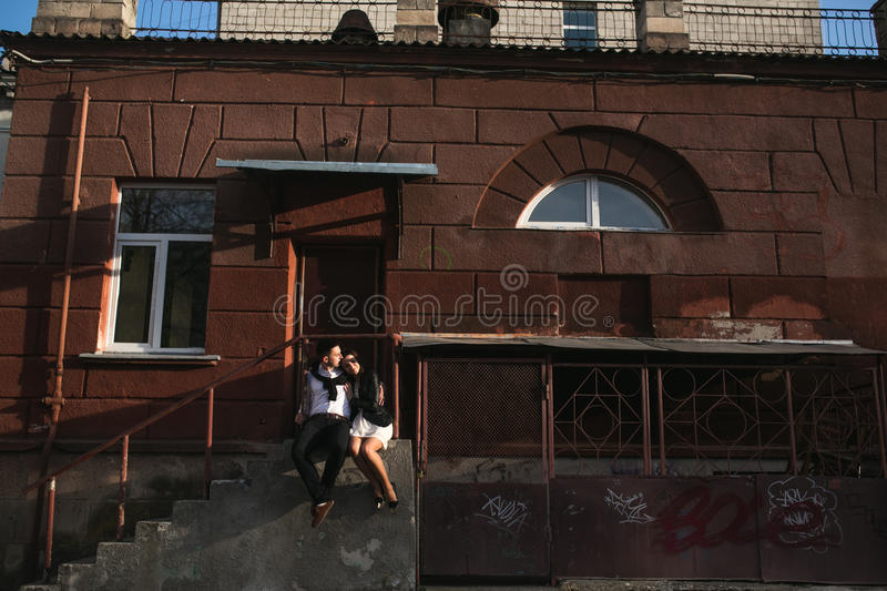 Couple in the city royalty free stock photos