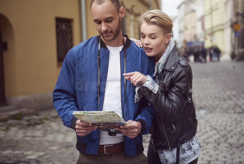 Couple in the city stock image