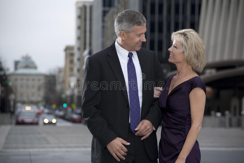 Couple on City Street royalty free stock images