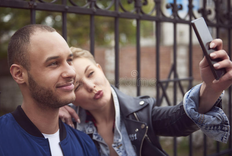 Couple in the city royalty free stock images