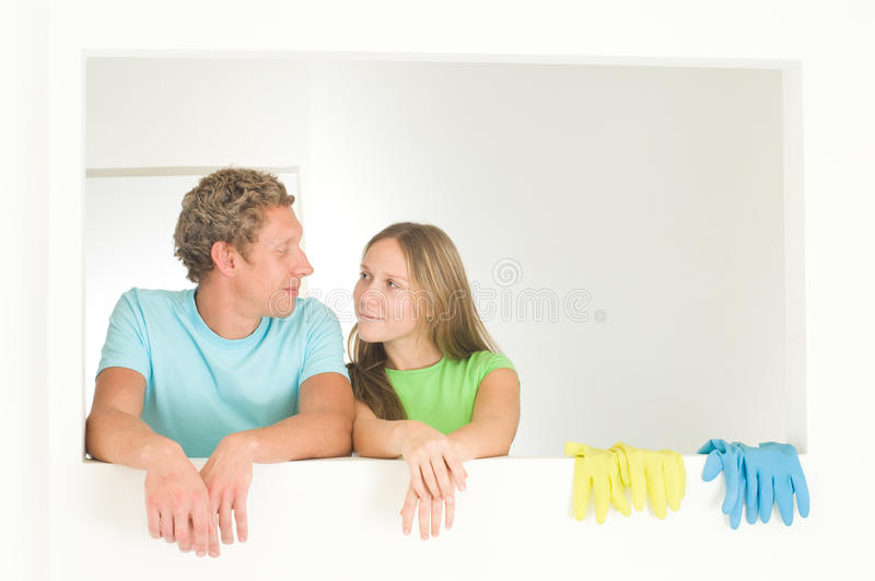Download Couple cleaning stock photo. Image of washer, bath, gloves - 11792954
