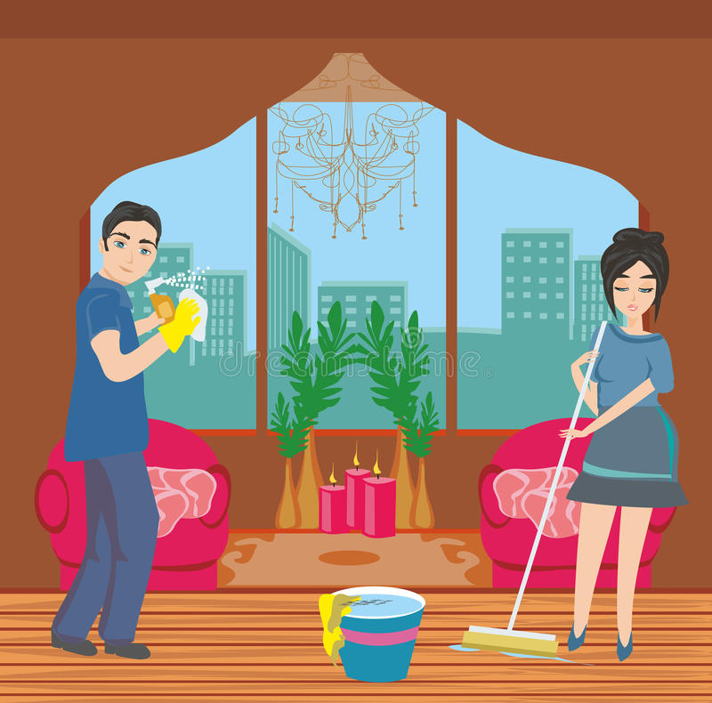 Couple cleaning home stock illustration