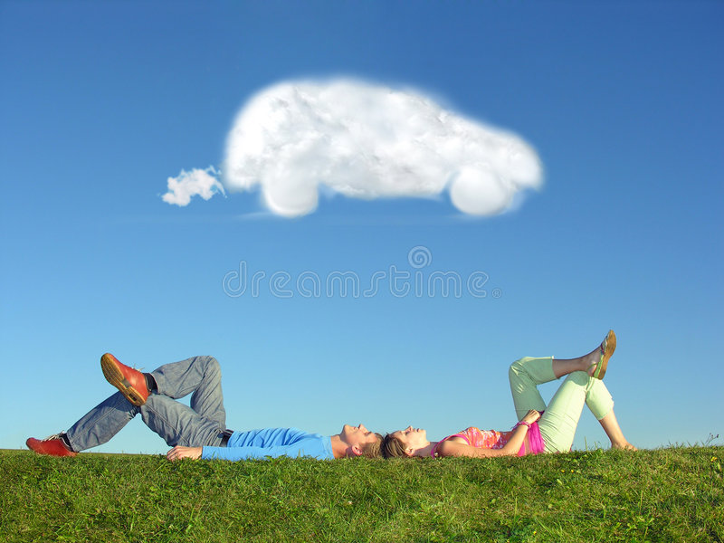 Couple And Cloud Dream Car Royalty Free Stock Photo