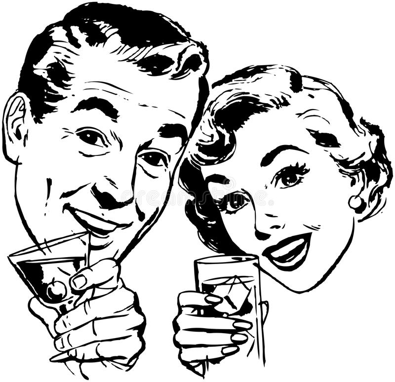 Couple With Cocktails royalty free illustration