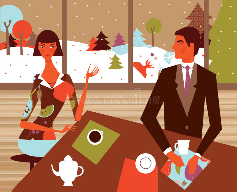 Couple with coffee in winter. Illustration of a couple at a table with coffee and a winter scene in the background royalty free illustration