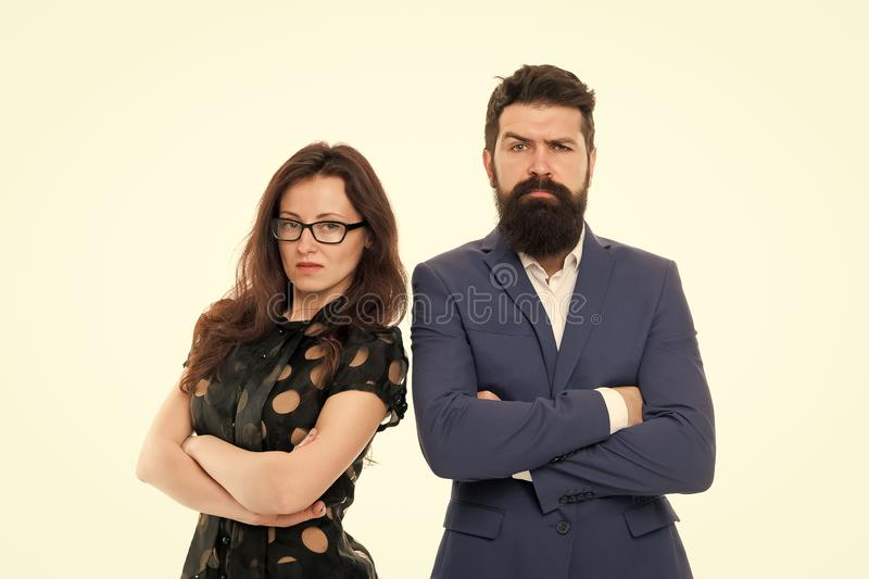 Couple colleagues man with beard and pretty woman on white background. Business partners leadership and cooperation. Couple colleagues men with beard and pretty stock image