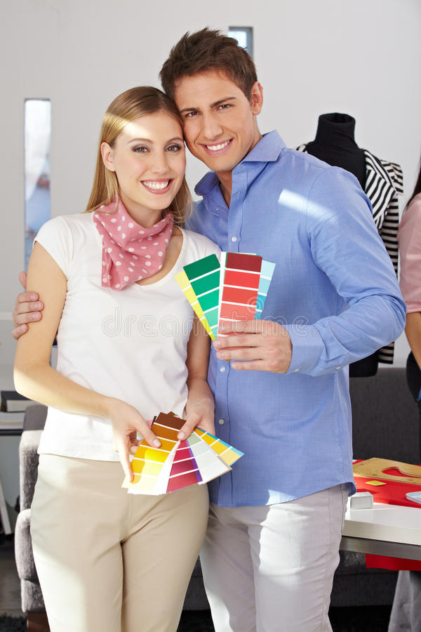 Download Couple With Color Samples Fan Stock Photo - Image: 27003546