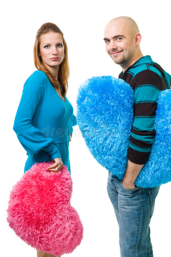 Download Couple With Color Teddy Hearts Stock Image - Image: 11139813