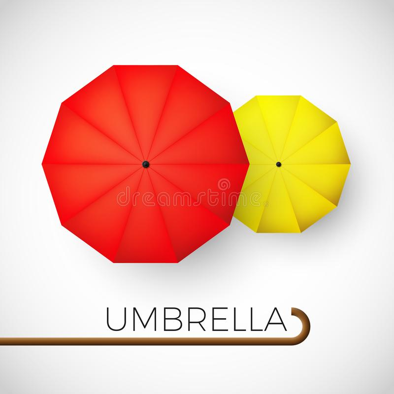 Couple of colorful umbrellas. Red and yellow parasol top view. Vector illustration.  royalty free illustration