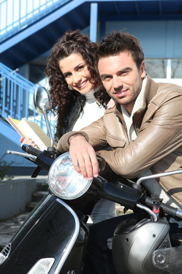 Download Couple commuting stock photo. Image of flirt, motorcycle - 22690678