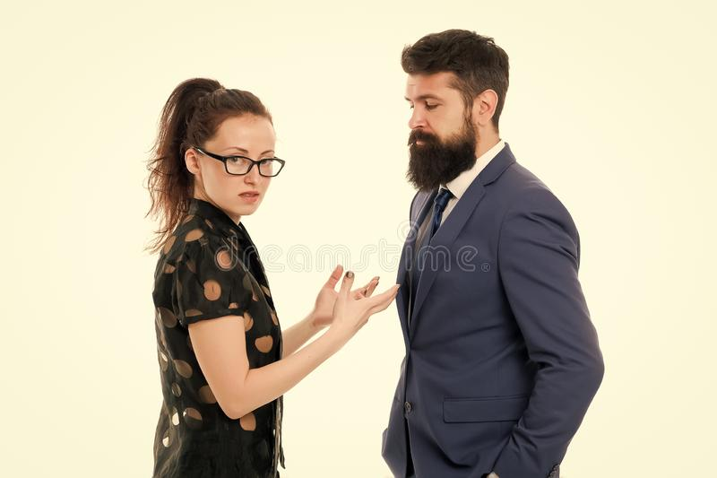 Couple conflict and dispute. misunderstanding at work. discussion between businessman and woman. business conflict. Argue between businessman and businesswoman stock image