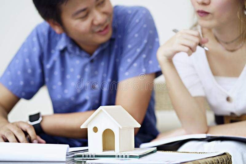 Couple consult and studying contract agreement, reading terms an royalty free stock photo