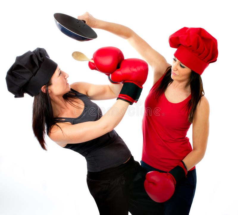 Couple of cook boxing in masterchef. White background stock photo