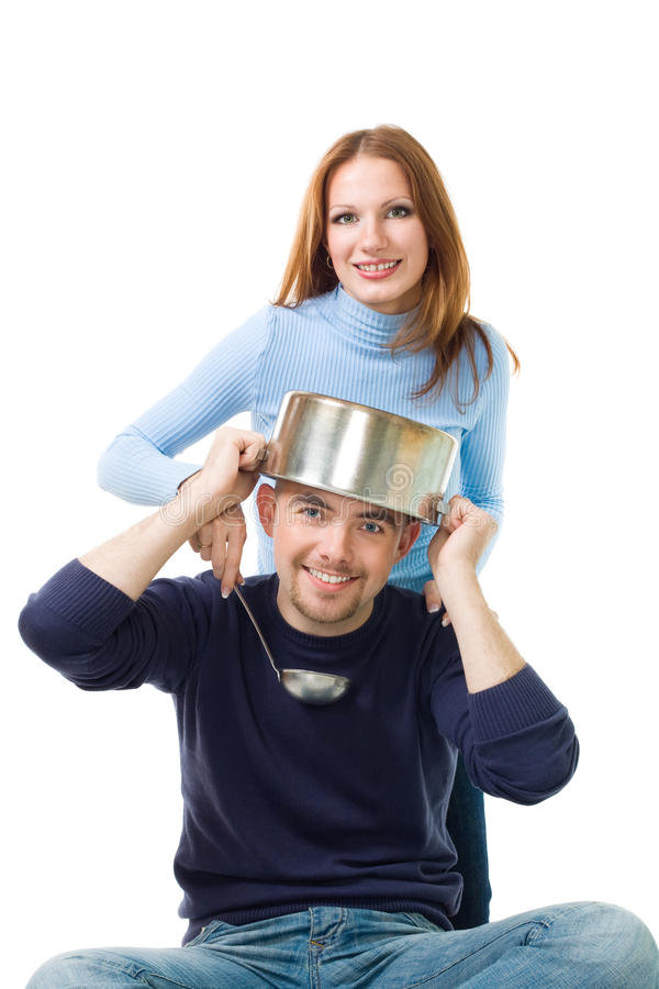 Download Couple cooking stock image. Image of grin, ladle, long - 11156769