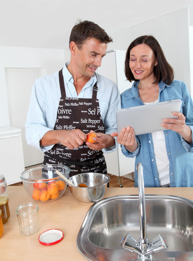 Download Couple Cooking Fruit Jam At Home Stock Image - Image: 20289899