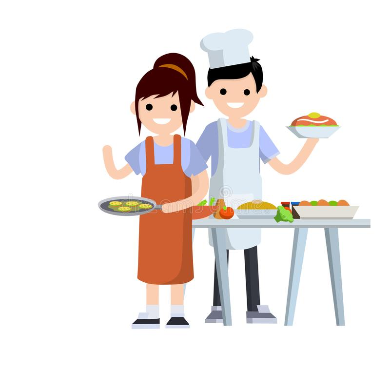 Couple cooking in the kitchen royalty free illustration