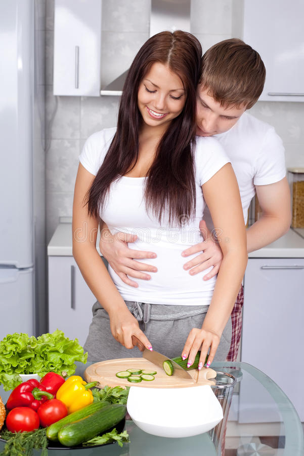 Download Couple cooking together stock image. Image of love, kitchen - 17150123