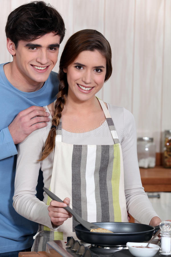 Download Couple cooking together stock image. Image of brown, eating - 26946437