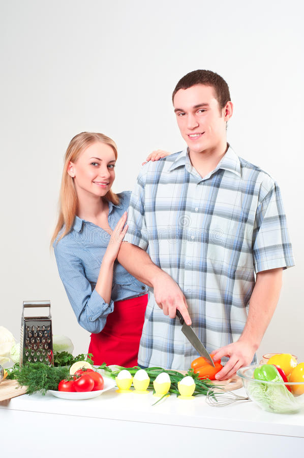 Download Couple of cooking together stock photo. Image of green - 27291756