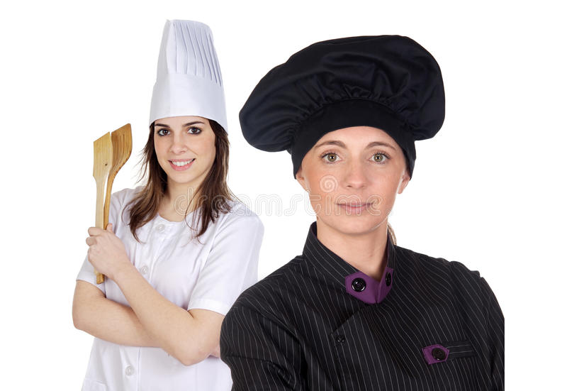 Couple of cooks women with black uniform. Isolated on white background royalty free stock photo
